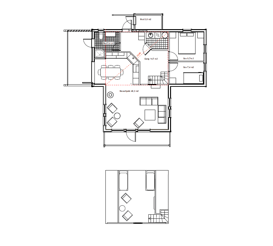 Plantegning modell 2